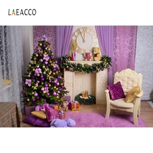 Laeacco Christmas Tree Fireplace Armchair Carpet Pillow Gifts Photography Backgrounds Photo Backdrops Baby Portrait Photophone цена 2017