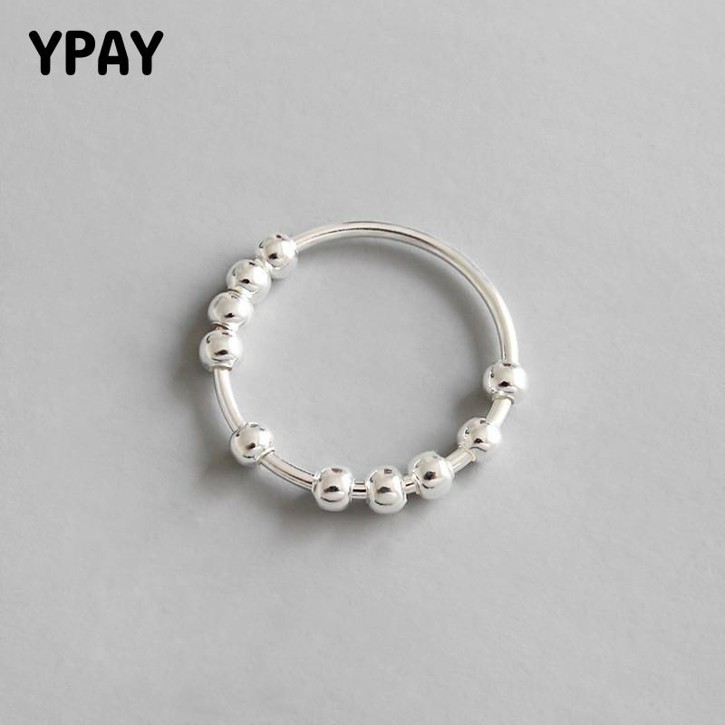 YPAY 100% Real 925 Sterling Silver Finger Ring INS Simple Geometric String Of Beads Rings For Women Luxury Fine Jewelry YMR559