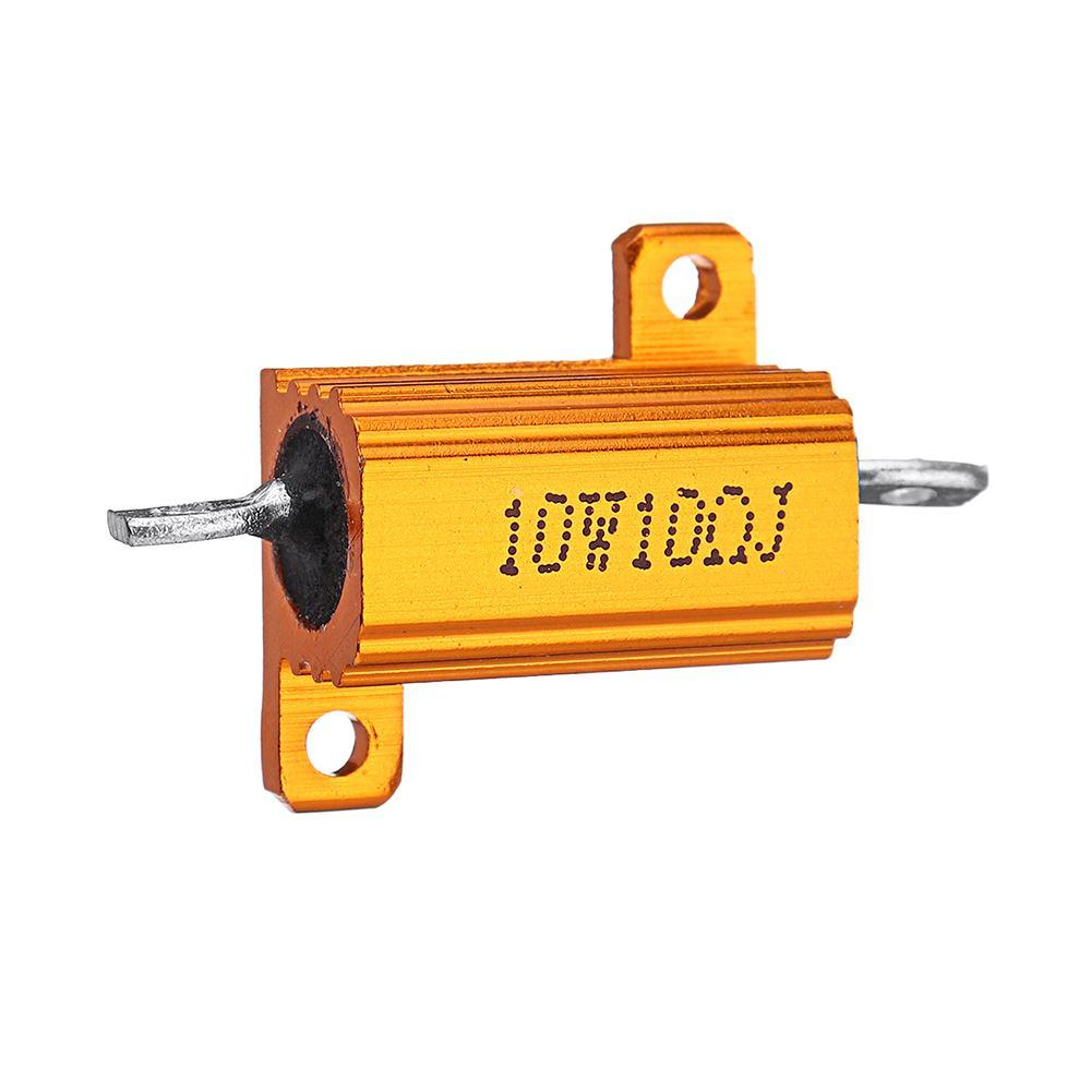 RX24 10W 10R 10RJ Metal Aluminum Case High Power Resistor Golden Metal Shell Case Heatsink Resistance Resistor
