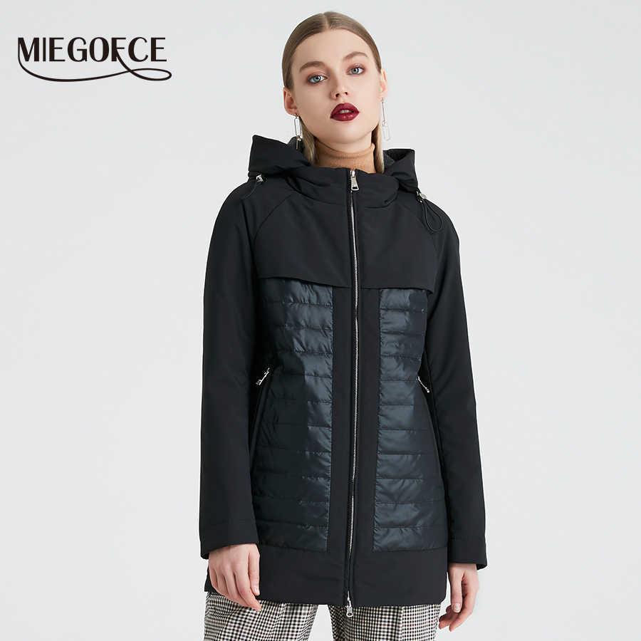MIEGOFCE 2019 Neue Mode Kollektion Frühjahr Herbst frauen Kurze Jacke Mit Kapuze Winddicht Isolierte Europäischen Stil Mantel