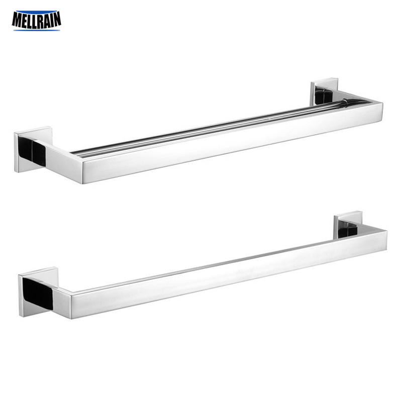 Bathroom Brief Square Towel Racks Wall Mounted 304 Stainless Steel Towel Rail Bar Mirror Polished Chrome 1 & 2 Bars Choice