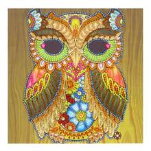 Round diamond shaped diamond paint 5DDIY owl with golden diamond cross stitch Mosaic cartoon pattern crystal diamond home decora