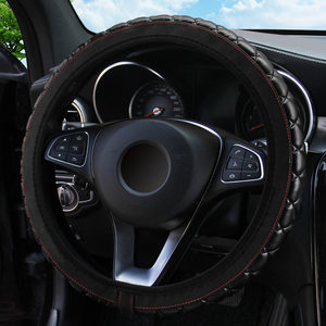 Image 3 - LEEPEE 37 38CM Diameter PU Leather Crystal Crown Steering Covers Car Interior Accessories Steering Wheel Cover Car styling