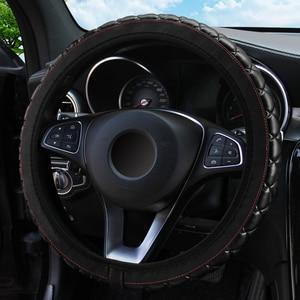 Image 3 - Leepee 37 38センチメートル直径puレザークリスタルクラウンステアリングカバー車のインテリアアクセサリーステアリングホイールカバー車 スタイリング