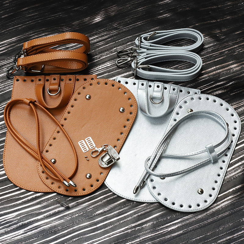 New Handbag Shoulder Strap Woven Bag Set PU Leather Bag Bottoms With Hardware Accessories For DIY Handmade Bag Backpack 7pcs Set