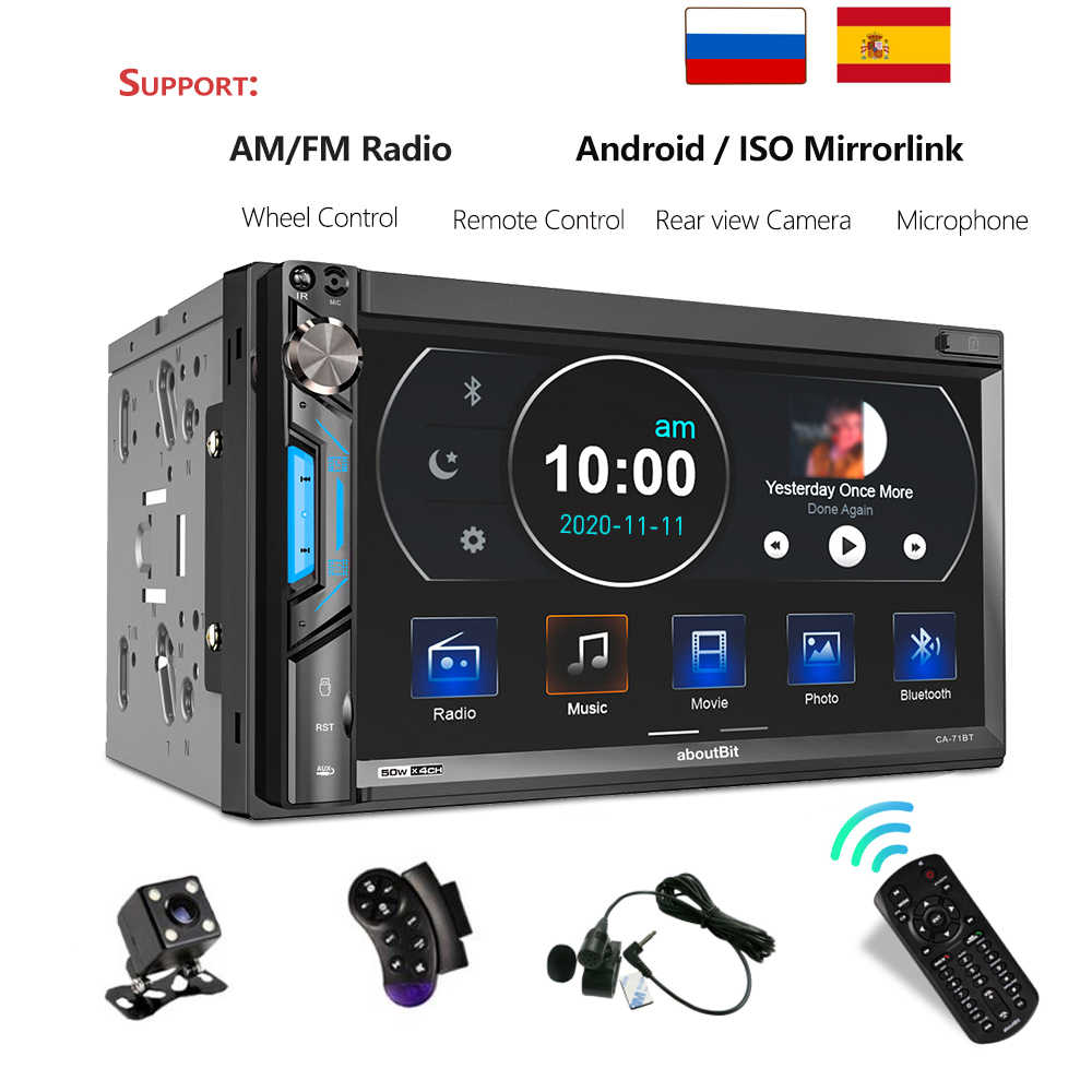 GRAND 2 Din 71BT Radio Mobil Universal 7Inch Multimedia Mp5 Player AUX USB FM Bluetooth Cermin Link Auto Radio 2din Mobil Stereo