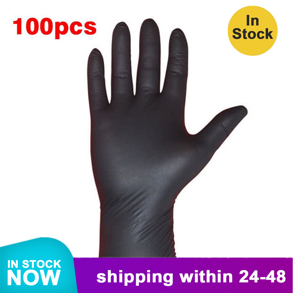 Black Nitrile Gloves 100PCS/SET Household Cleaning Washing Disposable Mechanic Gloves Laboratory Nail Art Anti-Static