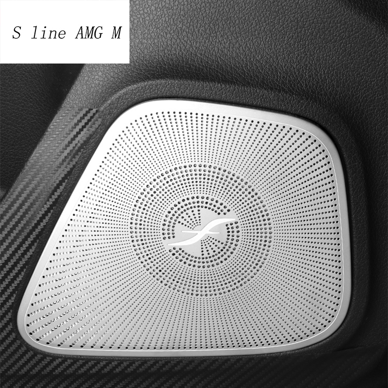 Car Styling Audio Speaker Auto Door Loudspeaker Decoration Covers Stickers For Mercedes Benz A Class W177 Interior Accessories