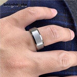 Image 4 - Bandas de boda de tungsteno para hombre y mujer, 6mm y 8mm, par de anillos de compromiso, bordes biselados, acabado mate pulido