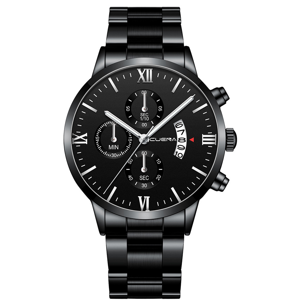 CUENA Men's Business Steel Belt Watch Three Eyes Six-Piece Calendar Quartz Watch Luxury Watch Men Watches Wrist Watch Reloj