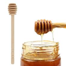 Mini colher de madeira eco-amigável mel dipper varas servidor de mistura colher de madeira para frasco de mel dispensar drizzle mel dipper vara