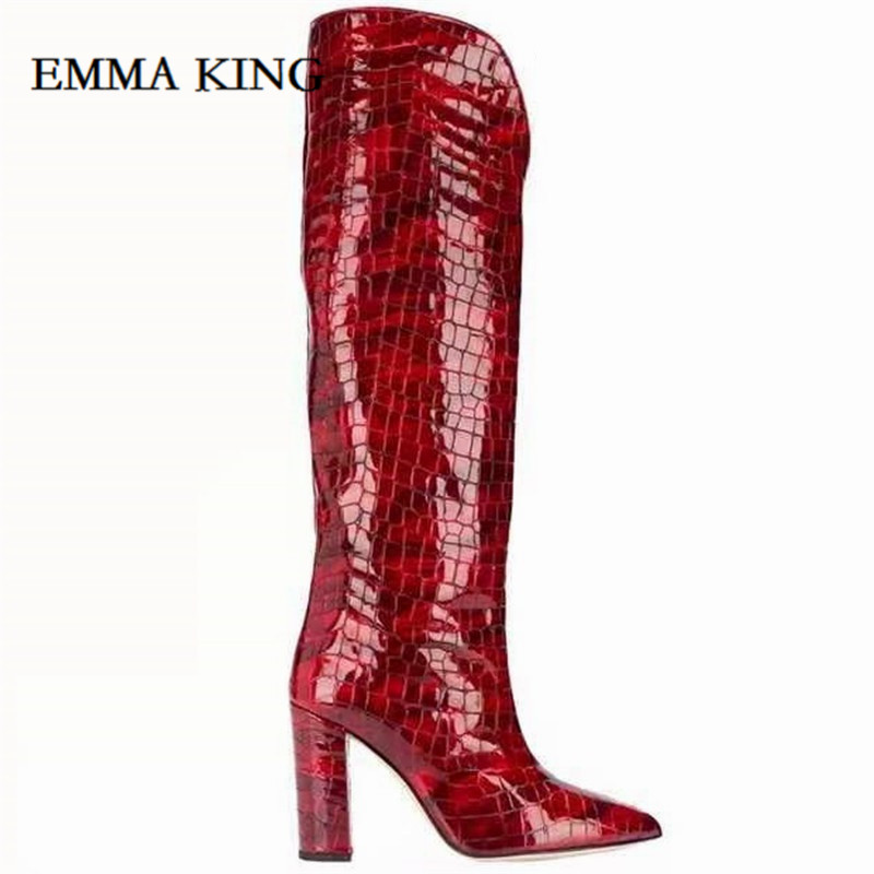 Sexy Crocodile Skin Leather Over the Knee Boots Pointed Toe Chunky Heels Thigh High Boots Sexy Purple Long Boot for Woman 2020 - 4