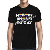 1Tee Mens Nobody Know I'M Gay Радуга, фестиваль Прайд флаг футболка M Xl 2Xl 32Xl футболка