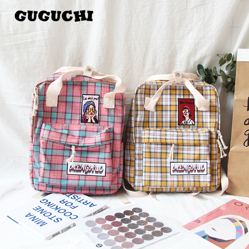 Backpack Women Men For Teenagers Boys Girls 2019 Fashion Students School Shoulder Bags Plaid Cartoon Soft Canvas Backpacks