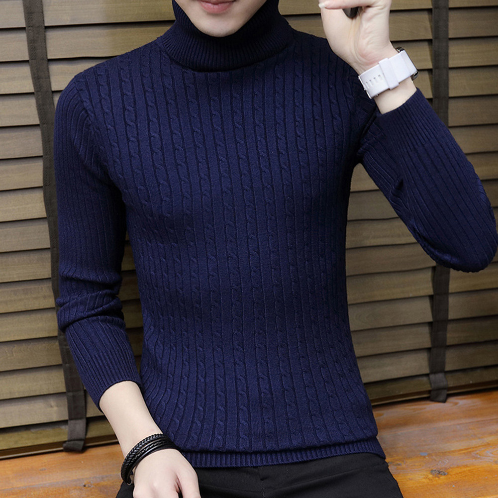 Fashion Winter Chic Men Solid Color Turtleneck Long Sleeve Knitted Sweater Bottoming Top Acrylic Sweater Standard Wool  M-3XL 2