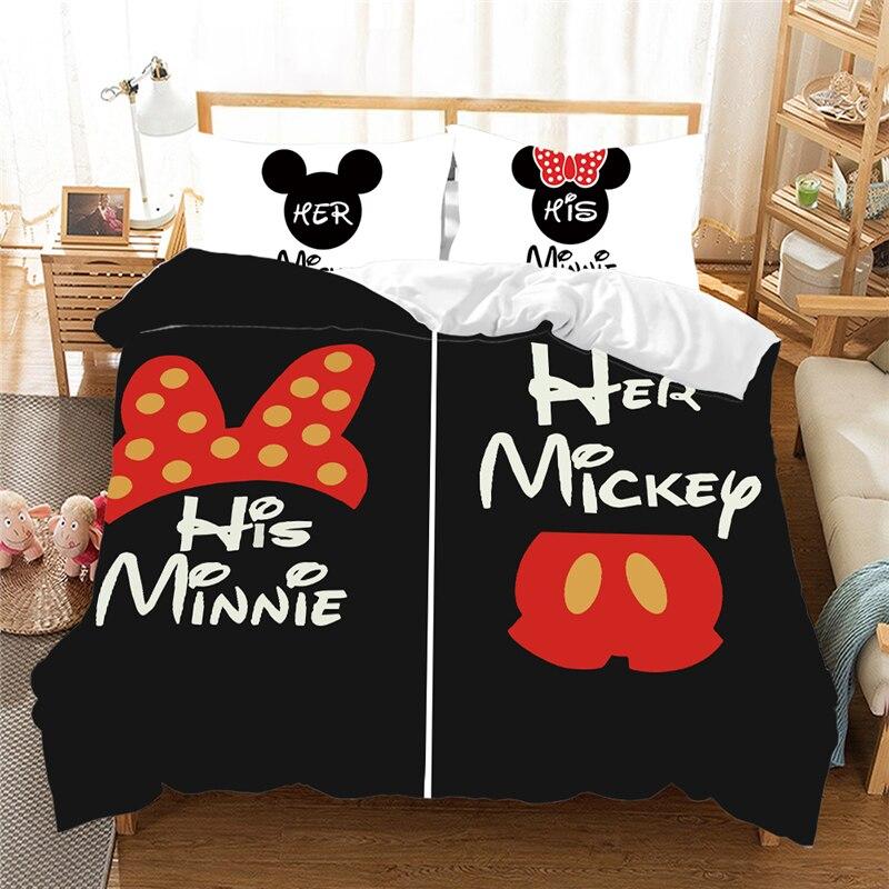 Nuit Mickey mouse ensemble de literie beau Couple reine King Size ensemble de lit enfants housse de couette taies d'oreiller couette ensembles de literie