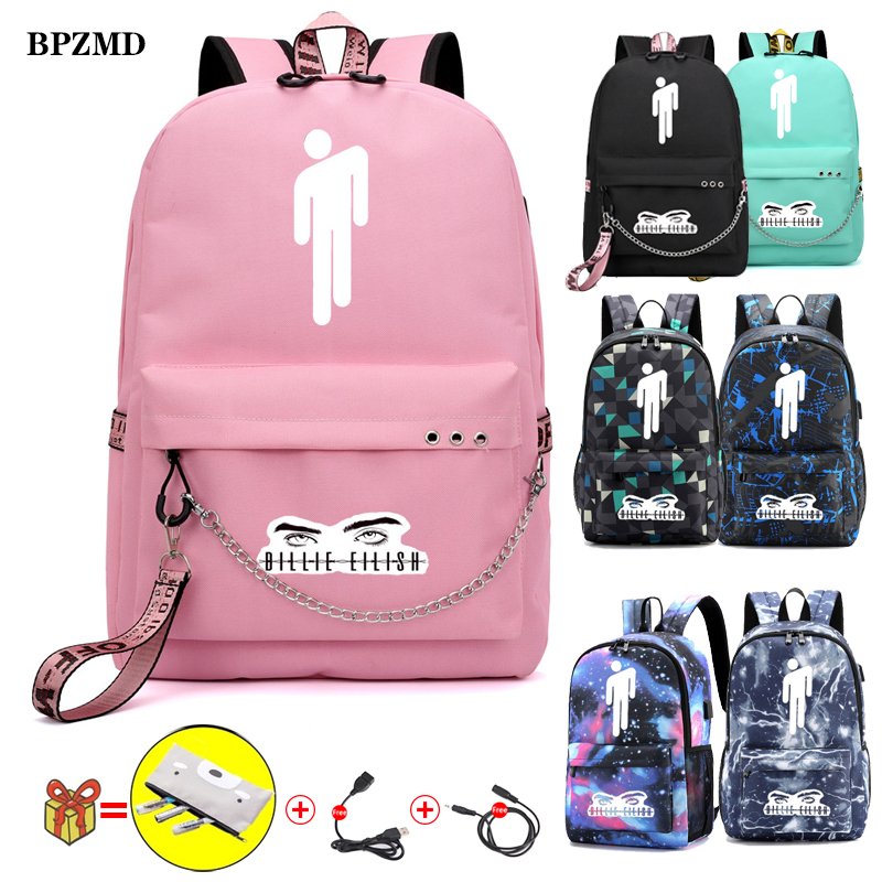 BPZMD Pink Billie Eilish Women Backpack For School Teenagers Girls Student Waterproof Canvas Bags Usb Laptop Travel Backpack New