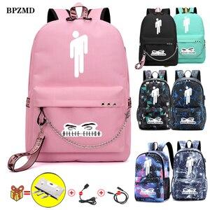 Image 1 - Eilish Billie BPZMD Rosa Mulheres Mochila para Adolescentes Meninas Da Escola Estudante Sacos de Lona À Prova D Água Usb Laptop Mochila de Viagem Nova