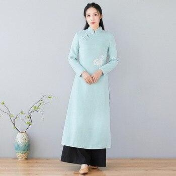 Neue angekommene Mode frauen Kleid Chinesischen Stil Vintage Kleider Stickerei schlanke taille kleidung