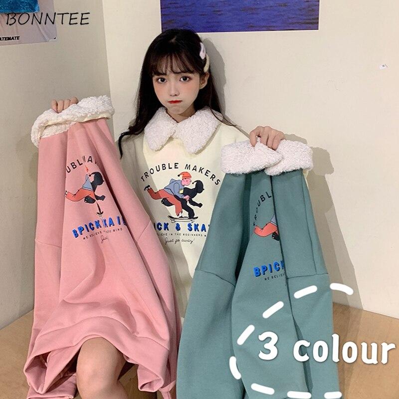 Hoodies Women Winter Thickening Cartoon Printed Kawaii Girls All-match Chic Turn-down Collar Warm Korean Sweet Simple Loose 2XL