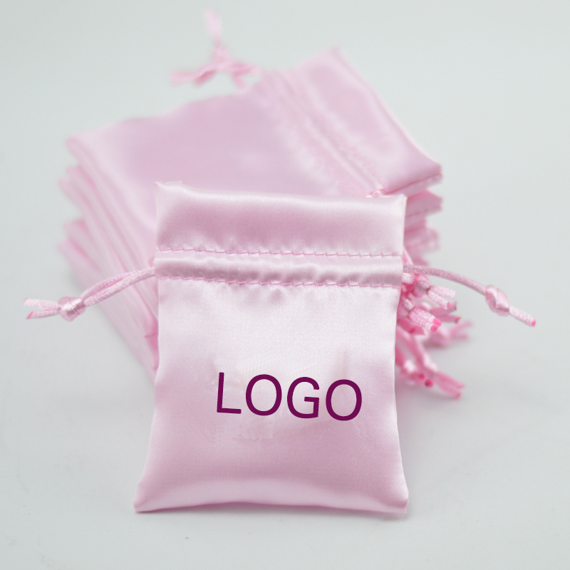 Satin Drawstring Bags Pouches For Packaging Jewelry/Gift/Makeup/Storage/Wedding/Earrings/Bead Sack Custom Logo Print 50p