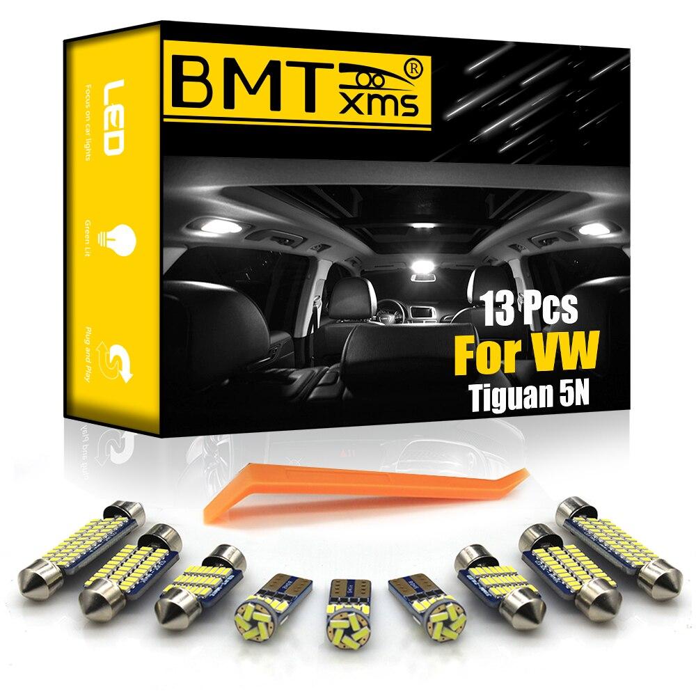 BMTxms 13 шт. для Volkswagen VW Tiguan 5N 2009 + Canbus автомобиля светодиодный Интерьер Карта Купол Магистральные светильник комплект авто аксессуары для свет...