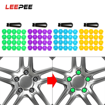 LEEPEE 20 Piece 17mm Auto Trim Tyre Nut Bolt Car Wheel Nut Caps Anti-Rust Car Styling Auto Hub Screw Cover Dust Proof Protector image