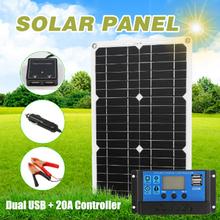 180W 12V zestaw paneli słonecznych 2 Port USB z 20A regulator ładowania słonecznego przenośna ładowarka baterii do telefonu jacht samochodowy ładowanie światła tanie tanio CN (pochodzenie) none monocrystalline solar panel 180W (max ) IP65 Flexible Solar Panel Kit Dual USB Port