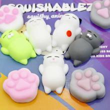 3 цвета милый мини животное мягкие каваи кошка лапа сжимать игрушки растяжка стресс мягкий мягкий для всех в мире