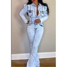 Женский джинсовый комбинезон, повседневный комбинезон в европейском стиле с расклешенными брюками и рукавом-бабочкой в стиле high street