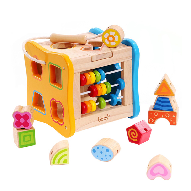 Wooden Shape Block Shape Sorting Cube Classic Wooden Toy Developmental Toy Easy-to-Grip Shapes Sturdy Wooden Construction 5.5″ H