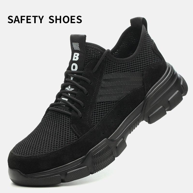 Safety Shoes Cap Steel Toe Shoe Boots For Man Work Men Breathable MeshFootwear Wear-resistant