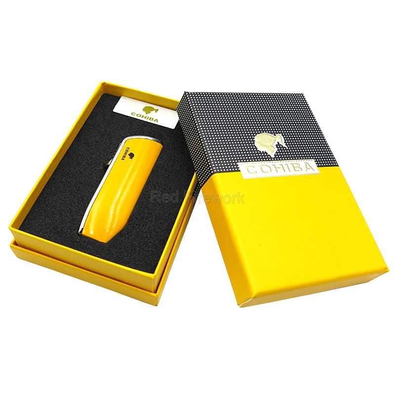 Cohiba Gadget Ular Mulut Bentuk Logam Tahan Angin 3 Torch Jet Api Rokok Cerutu Ringan W/Built-In Cigar Punch W /Kotak Hadiah