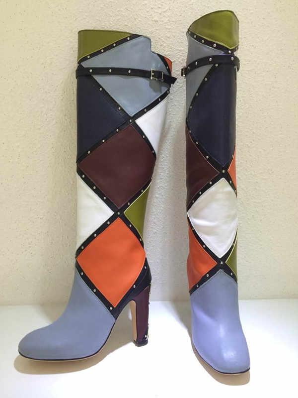 Tide Boots Women Rivets Botas Mujer Mixed Color Shoes Women Knee-high Botines Mujer 2020 Fashion Bota Feminina Zapatos De Mujer