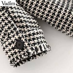 Image 5 - Vadim delle donne del plaid di grandi dimensioni giacca di tweed nappe tasche stile sciolto a maniche lunghe cappotti donna outwear caldo causale tops CA607