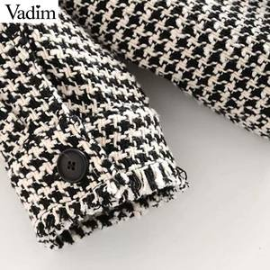 Image 5 - Vadim נשים גדול משובץ טוויד מעיל גדילים כיסי loose סגנון ארוך שרוול מעילי נקבה להאריך ימים יותר חם סיבתי חולצות CA607