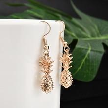 Fahsion Women Lady Metal Gold Fruit Pineapple Shape Pendant Dangle Earring Party Charm Earring Jewelry