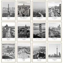 Черно белая Картина на холсте пейзаж города мира Париж Лондон