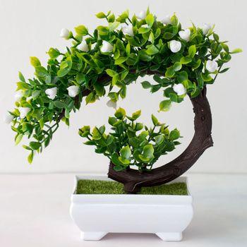 Sztuczne tworzywo sztuczne Bonsai sztuczne rośliny kwiat ślubny wystrój domu ogród Hotel doniczkowe sztuczne sztuczne plastikowe drzewo Bonsai roślin tanie i dobre opinie merylover 1 pc Pulpit Z tworzywa sztucznego