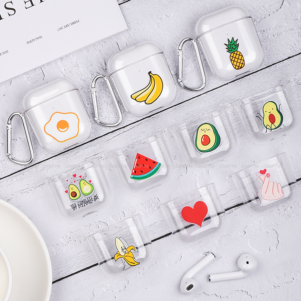 Transparent Earphone Case For Apple AirPods 2 1 Cute Lovely Heart Cartoon Hard PC Cover Bag For Airpods 2 1 Coque Fundas Cases