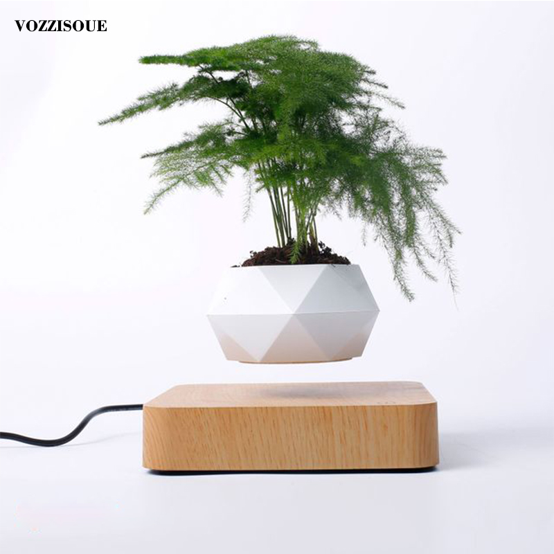 Hot Sale Levitating Air Bonsai <font><b>Pot</b></font> Rotation Planters <font><b>Magnetic</b></font> Levitation Suspension <font><b>Flower</b></font> Floating <font><b>Pot</b></font> Potted Plant Desk Decor image