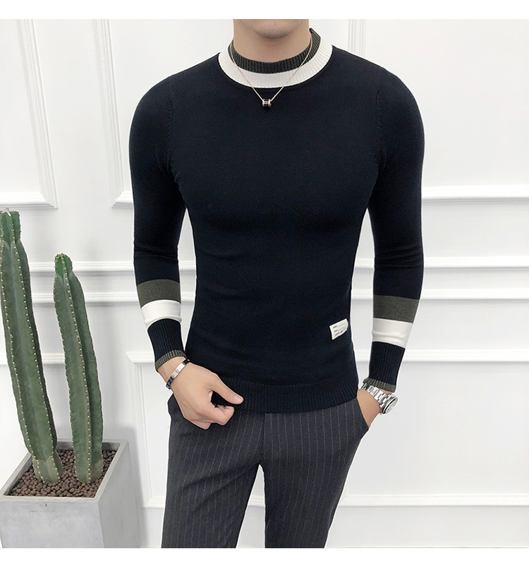 Sweater Men Korean Half Turtleneck Mens Pullover Autumn Winter Casual Slim Fit Pullovers Tops Male Long Sleeve Knitted Clothing