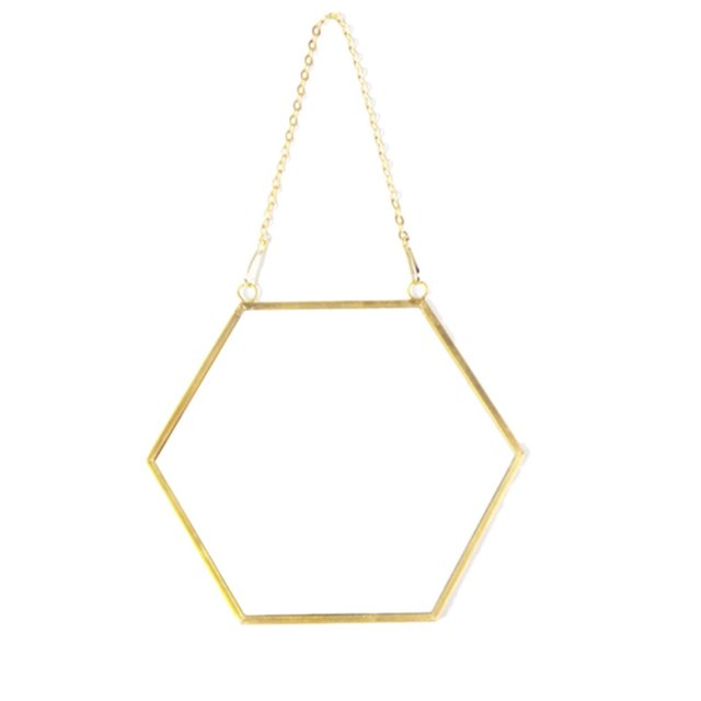 Nordic Minimalist Home Decoration Geometric Shape Gold Brass Hexagonal Mirror Bathroom Mirror Entrance Mirror Makeup Mirror 1