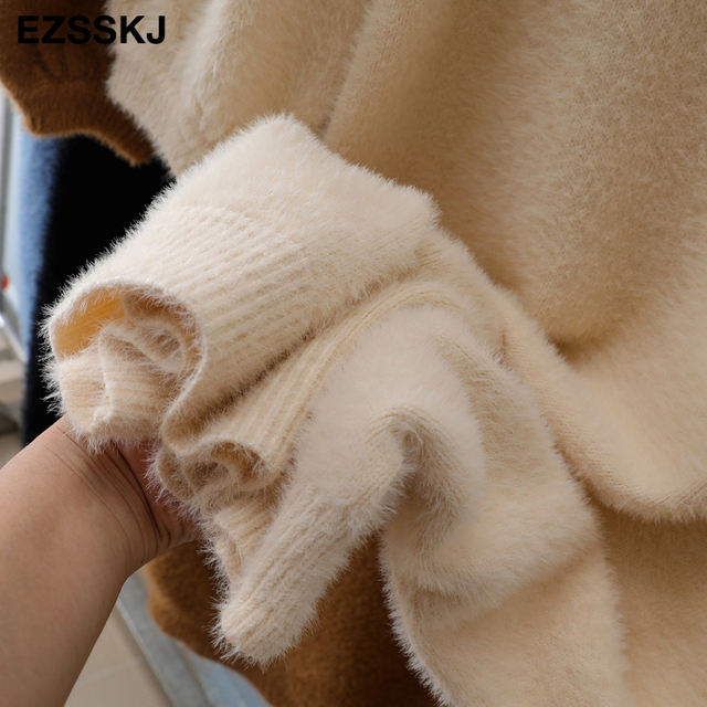 v-neck short lantern sleeve loose mini sweater dress   6