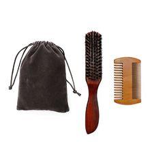 3 шт. мужской набор для ухода за бородой щетина щетка деревянная расческа с сумкой для хранения инструмент для усов