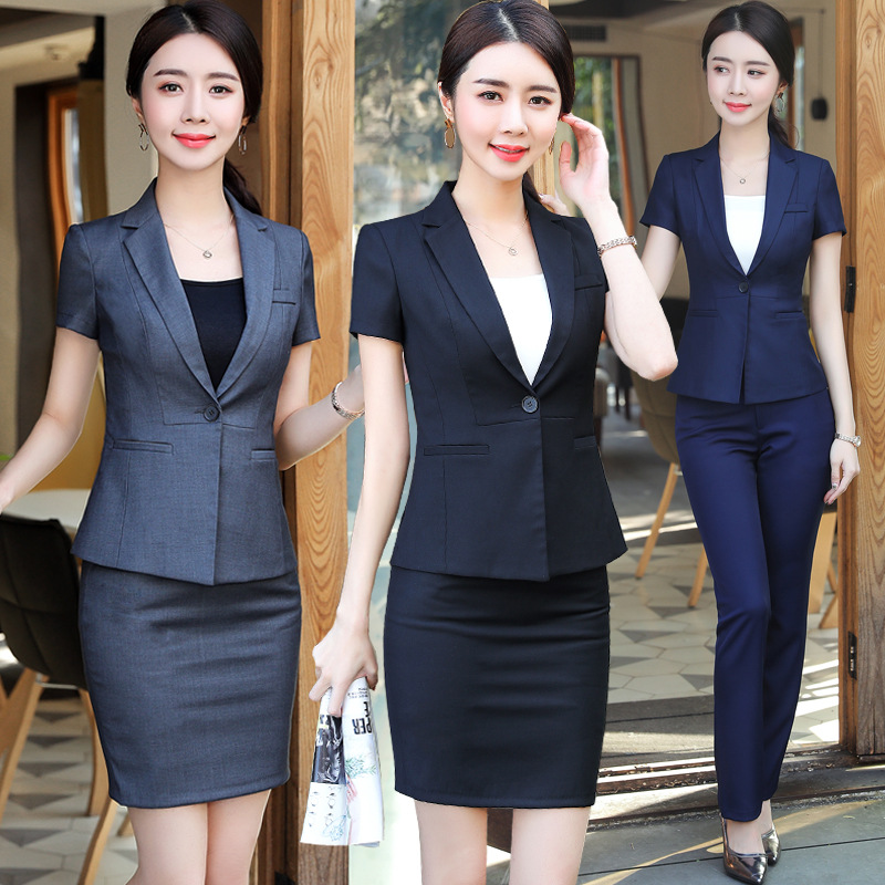 Short Sleeve Formal Uniform Styles Blazers Suit 2 Pieces Tops And Skirt For Ladies Office Work Wear Business Blazer Sets Clothes