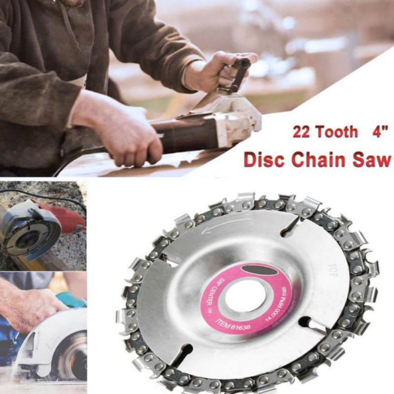 Drillpro 4 Inch Grinder Chain Disc 22 Tooth Wood Carving Disc For 100/115 Angle