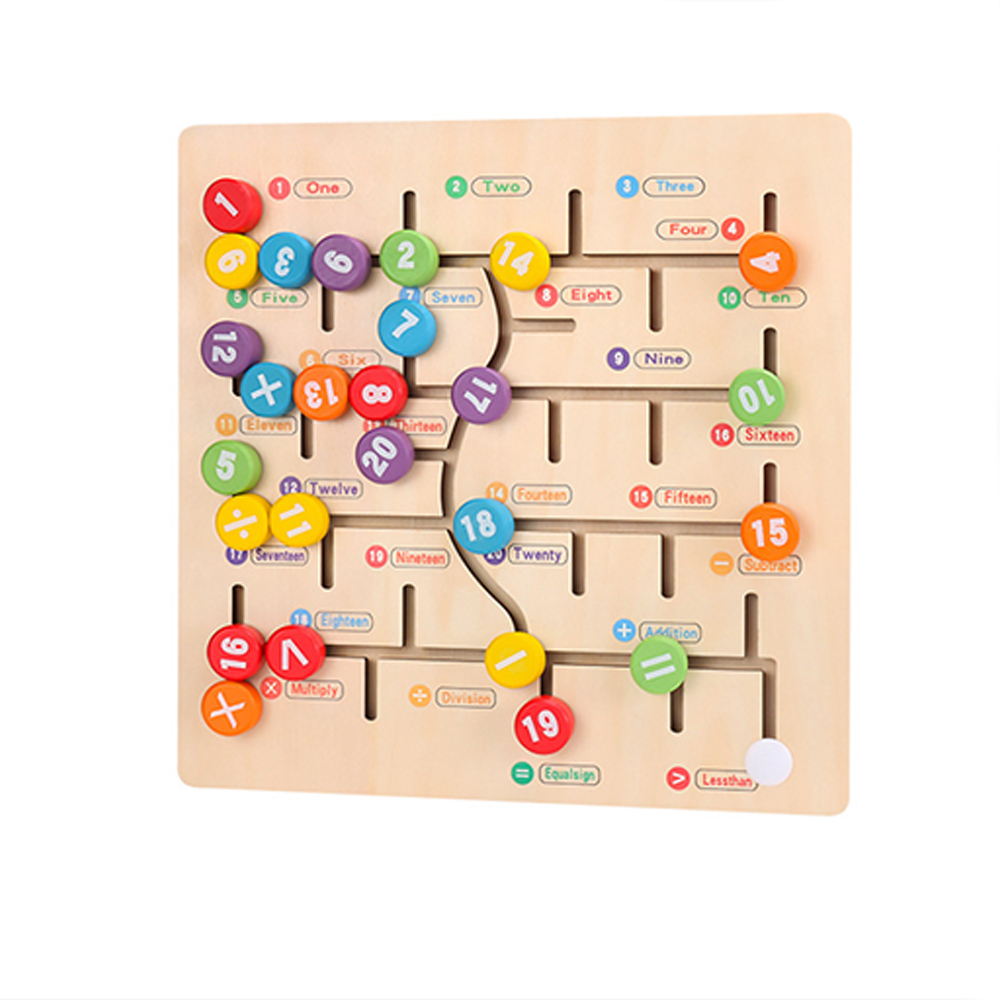 Wooden Digitals Alphabet Learning Arithmetic Maze Matching Board Kids Math Toy Baby Logic Thinking Intellectual Development Toy