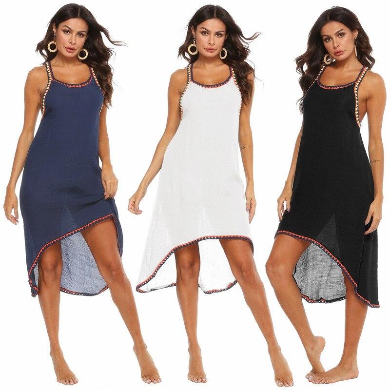 Long Beach Dress Beachwear Bikini Cover Up For Women Coverups Plus Size Sarong Dresses Crochet Strappy Swim Wear White Black XL