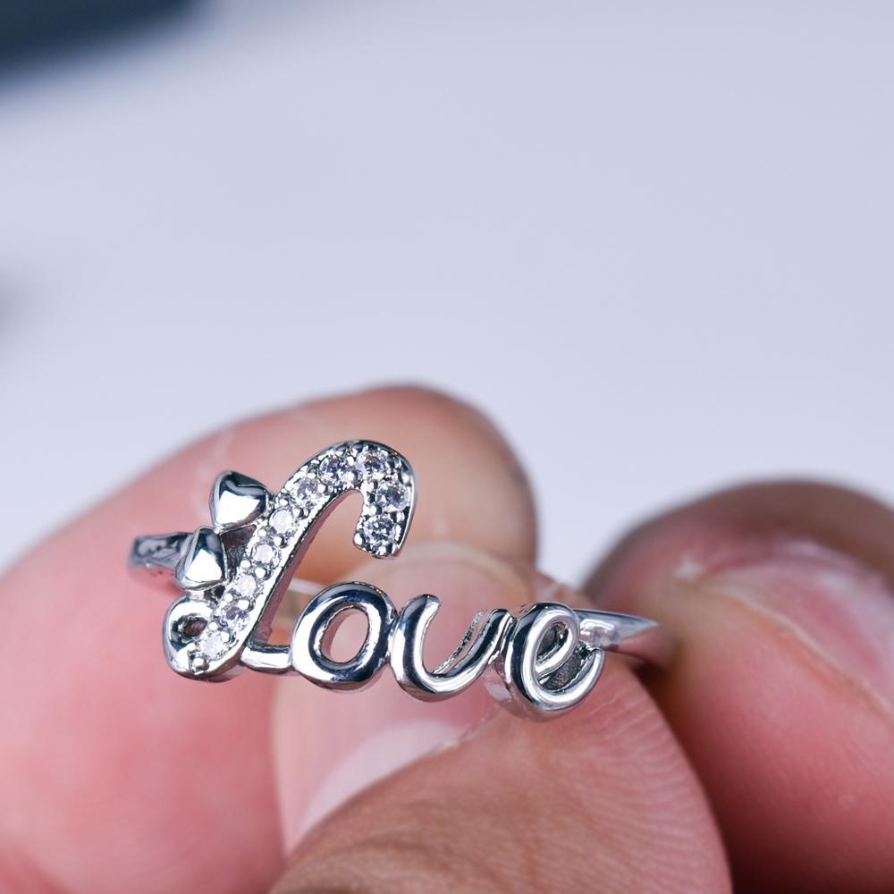 Mengyi خاتم رومنسي على شكل حرف L على شكل حرف E للنساء خاتم زفاف خاتم الخطوبة